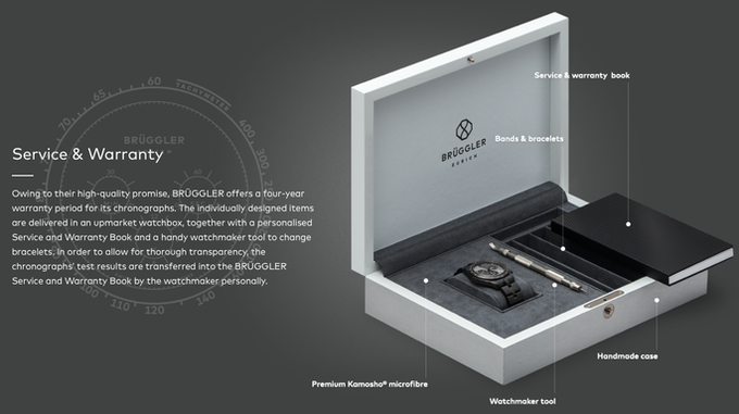 Our luxury box with watch tool and warranty booklet