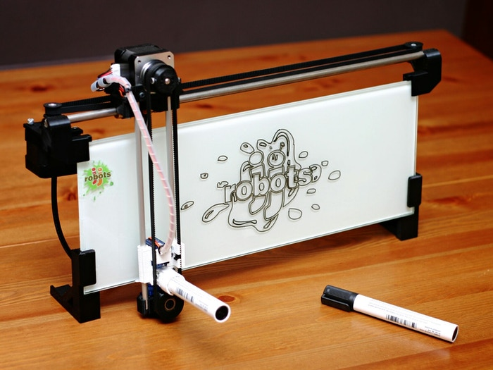 The iBoardbot is an internet controlled robot capable of writing+drawing (and wiping!) on a glass surface.