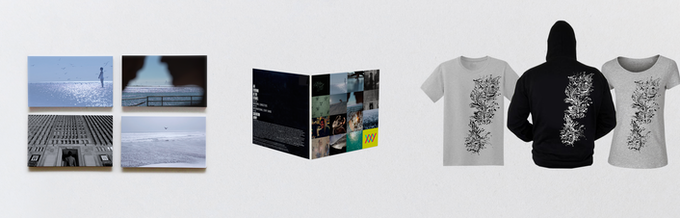 Non-contractual samples of the rewards : postcards, album, T-shirt and Sweat-Shirt