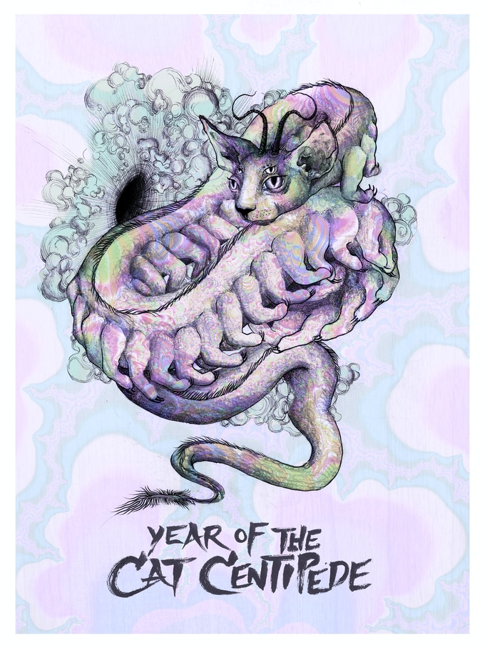 """""""Year of the Cat Centipede"""" // Artwork by Crystal Araiza, hand lettering by Pete Danilchuk"""