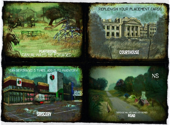 """A few of our placement cards.  At """"The Park"""" we decided it would be believable that a park could always be foraged for food, because of things like berries, rabbits, squirrel, pigeons.  Every card is based on a real what if.."""