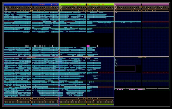 "Xilinx Artix-7 A35 FPGA logic utilization ""floorplan"" (click for larger)"