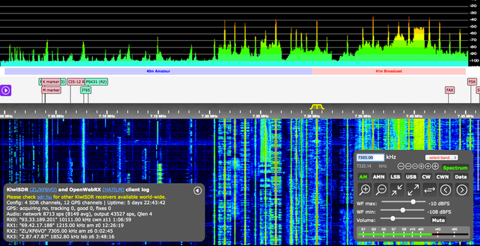The busy 40m Amateur and 41m Broadcast bands at night (click for larger)