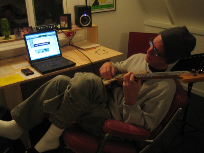 jeffrey composing in his first studio
