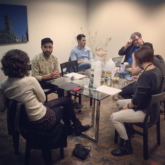 """Our first table read for, """"The Grasshopper."""" Photo: Brad Bischoff"""