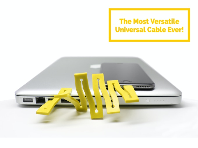 The CONNEX™-cable is the most creative universal cable providing an easy compact tangle-free solution that users can personalize.