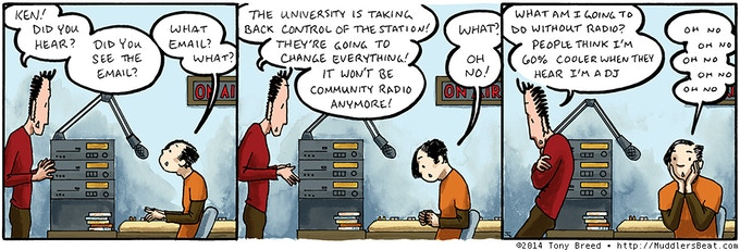 Charlie and Ken volunteer at a radio station… but there's trouble ahead.