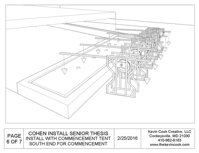 Final blueprints for Ripple installation at Cohen Plaza, perspective layout