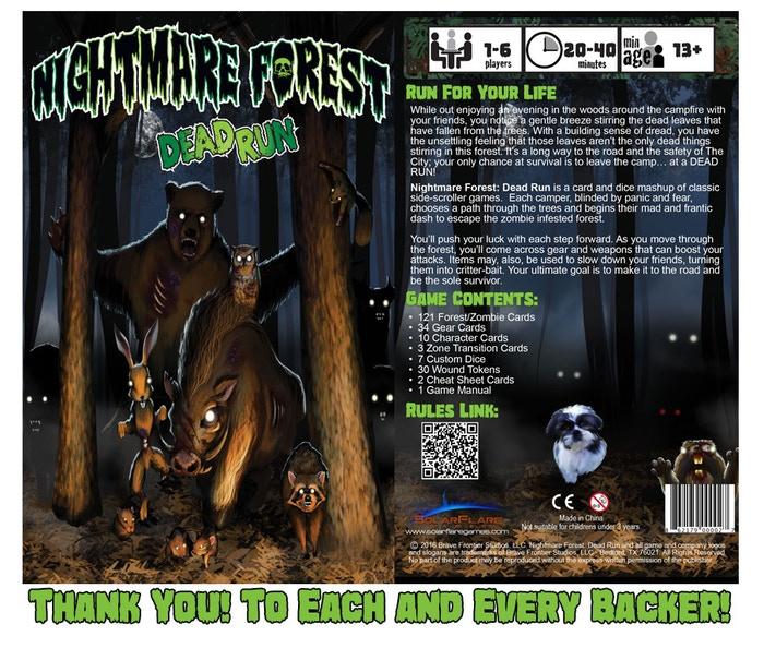 Run for your life to escape a forest overrun with the furry undead in this classic side-scroller board game mashup.