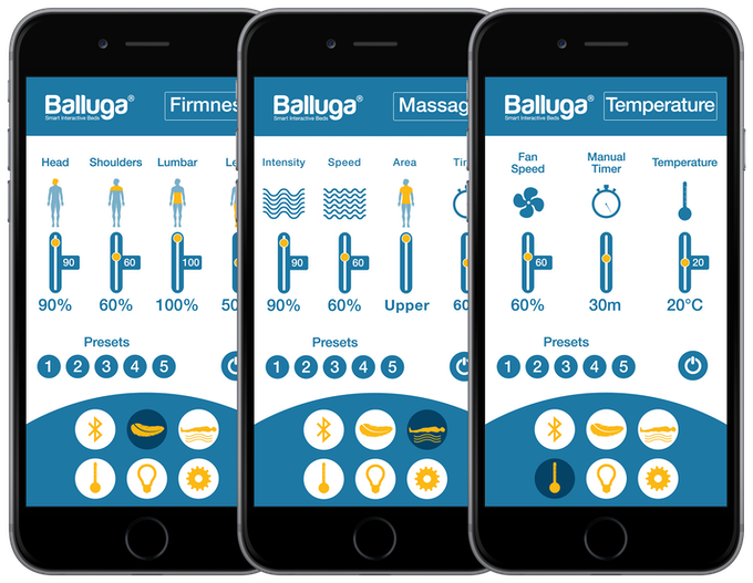 App pages for Firmness, Massage & Temperature control