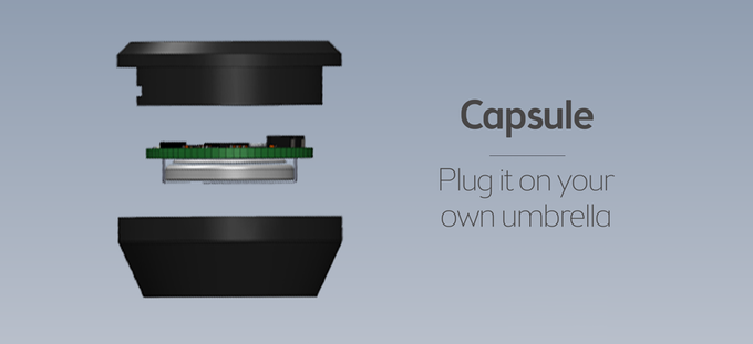 The capsule. To turn your umbrella into a connected one.