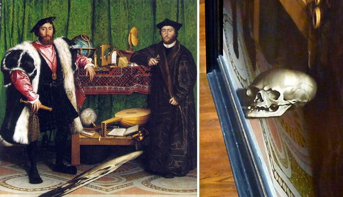Left: Hans Holbein, The Ambassadors (1533) (National Gallery, London). Right: The strange angled blob in the foreground is revealed as a skull when viewed from an oblique angle.