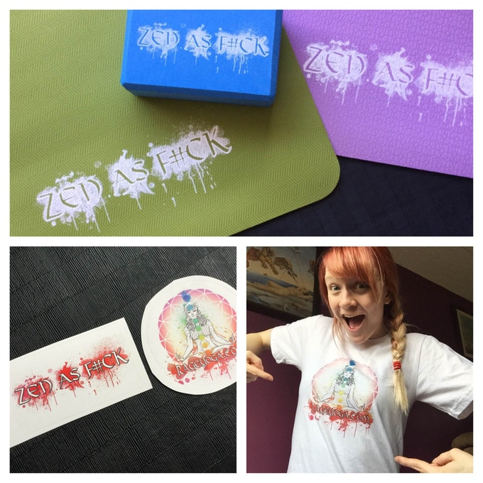 Yoga blocks & mats, stickers and t-shirts!
