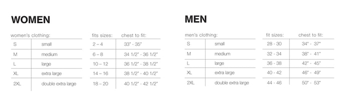 Sizing chart for t-shirts