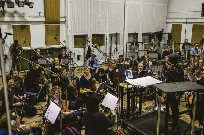 Dave's daughter Holly and co-producer of the album speaking to the orchestra pre recording