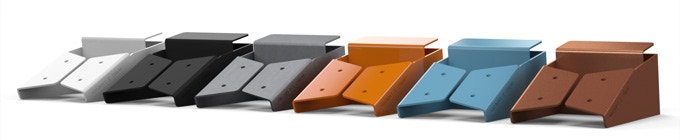 Available UX4 Colors, Left to Right: White, Black, Raw Steel, Orange, Blue, Copper
