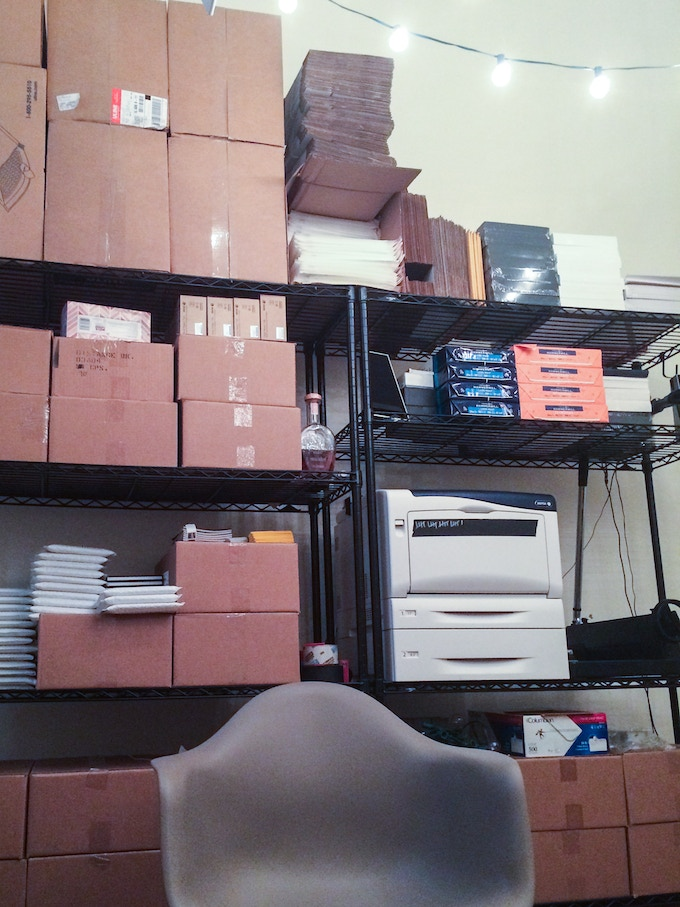 Draft's office, with boxes of Cadence & Slang ready to ship