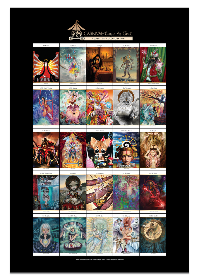 11 by 17 inch poster print of all Major Arcana in 78 Tarot Carnival