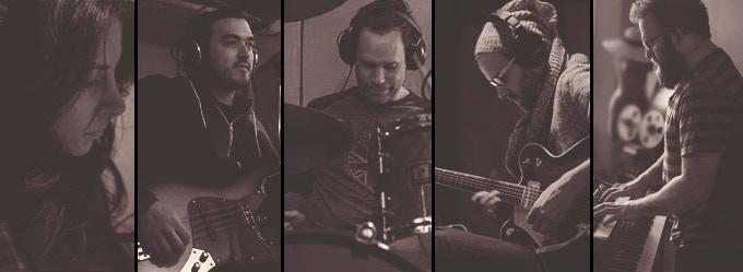 Ht basics and overdubs. Left to right: Lainey, Derek, Tom, Brendan, Pete (photo credit: Philip Doyle)