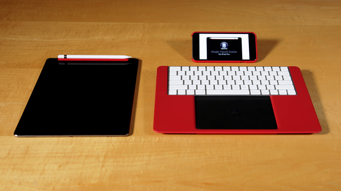 Ruby Red Magic Pencil Holder, seen with Ruby Red SAFE Wallet 6 Plus and Ruby Red eXpress² Keyboard Platform (coming soon!)