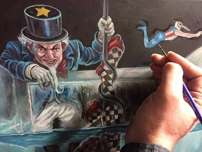 David Van Gough working on The Hanged Man