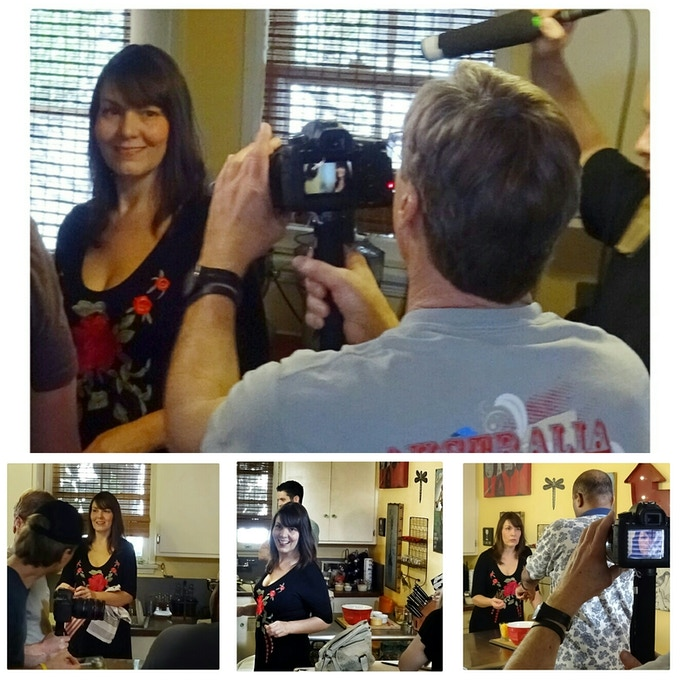 "Behind-the-scenes shots from Kristi's recent appearance on the television show ""Recipe Hunters"""