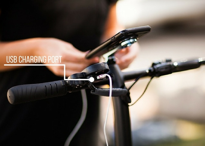 USB charging port for smartphone & GoPro attachments. Charge your device while you ride.