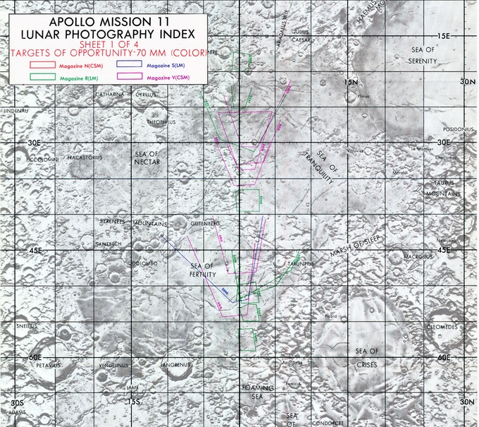 Lunar photography map for the Apollo 11 landing site