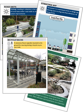 Mockups showing how to design across street design, mobility and green infrastructure decks
