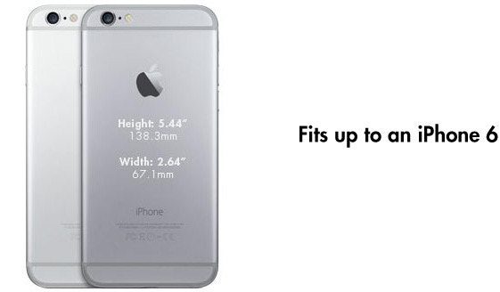 "Fits up to an iPhone 6 - H: 5.44""(138.8mm), W: 2.64""(67.1mm)"