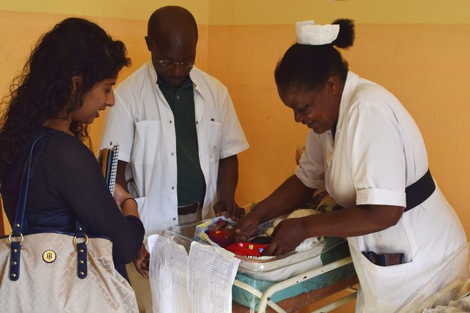 Sona, CEO, with staff at St. Francis Mutolere Hospital in Uganda in 2015