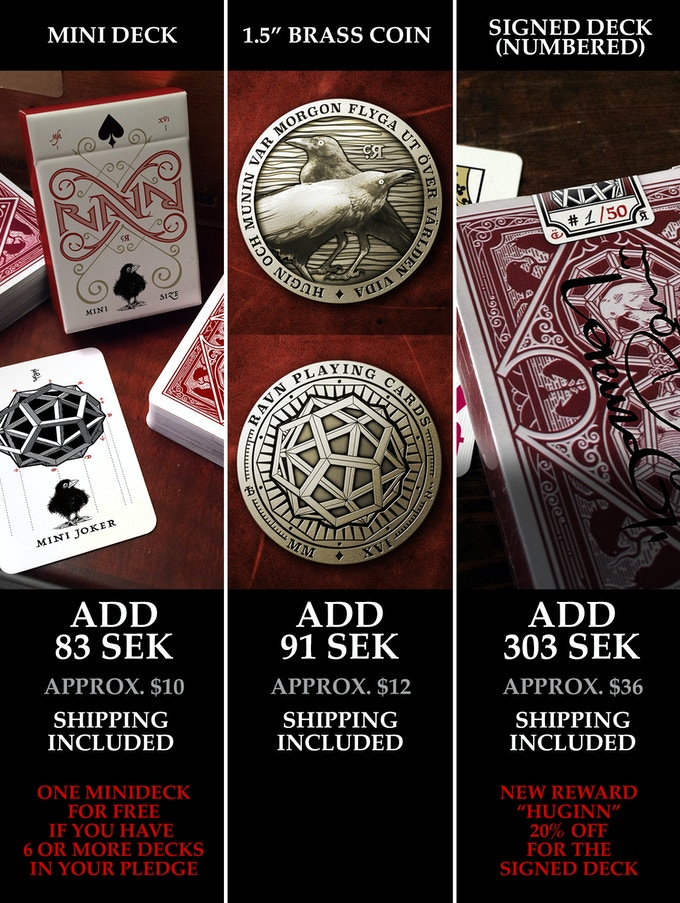 mini deck, brass coin, signed deck
