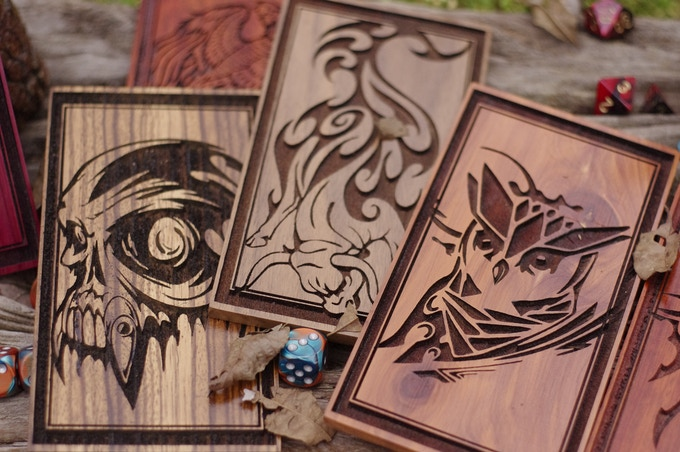 Right to left: Face in Zebrawood, Toro in Walnut, and Owl in Cedar