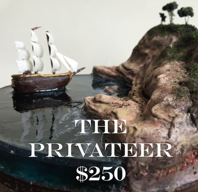 "A tiny ship model just offshore an untouched landscape. Each ship and landscape are sculpted and painted by hand. Comes in a 4""x 4"" bell jar display Also included: digital copy of Frontier, signed 8""x10"" photo print, and a postcard"
