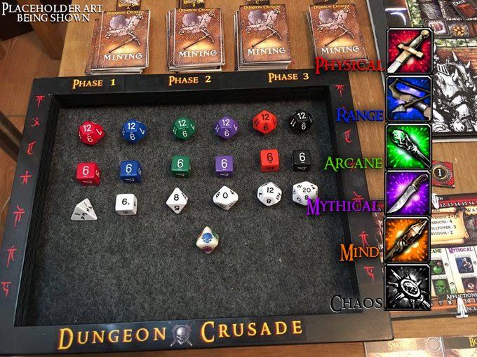 The colored dice represent the 6 different types of warfare in Avalon. Building a party of heroes that complement each other, is essential to slaying the creatures & monsters that reside within the dungeon.