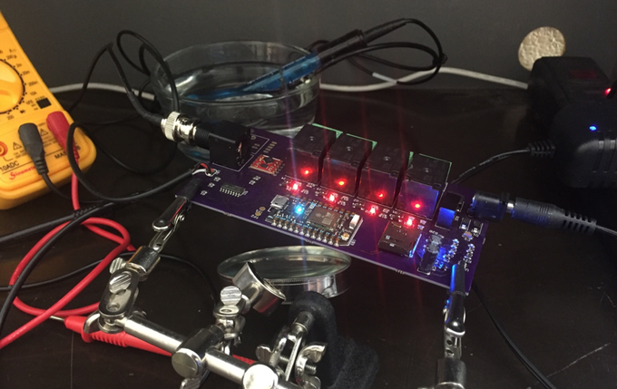 Bench testing one of our PCBs