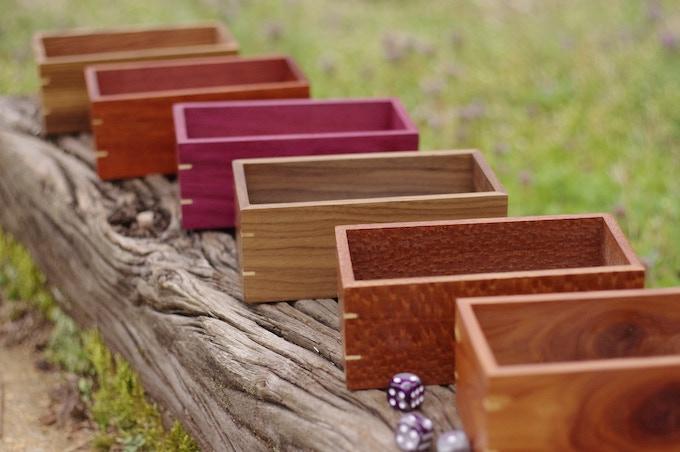From left to right: Zebrawood, Bloodwood, Purpleheart, Walnut, Lacewood, Cedar