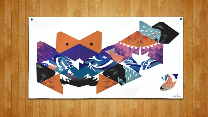 Limited edition ART POSTER, showing the flattened WILD