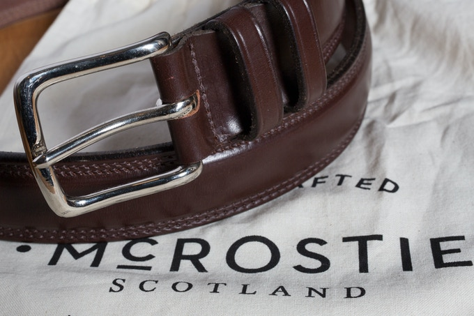 Handmade size 37 leather belt made in Glasgow by McRostie & book - £150