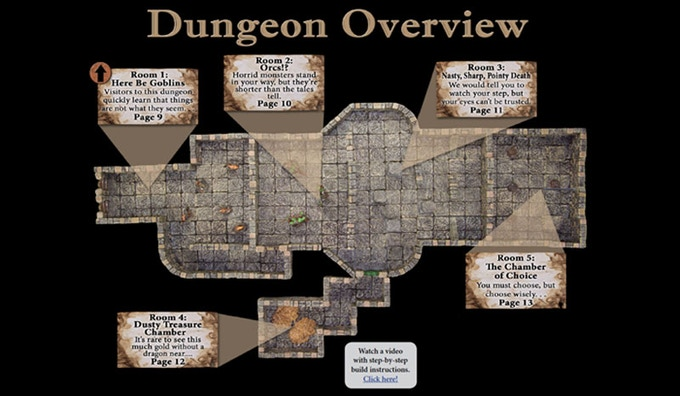 Clickable navigation allows you to quickly jump directly to any room or encounter in the dungeon.