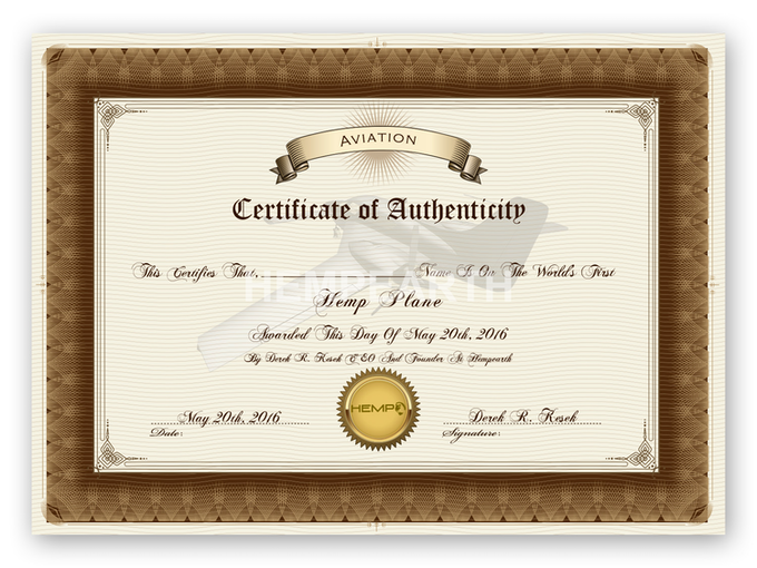 THE WORLD'S FIRST HEMP PLANE DOWNLOADABLE HIGH-RESOLUTION PRINTABLE AUTHENTICITY CERTIFICATE Made In The USA