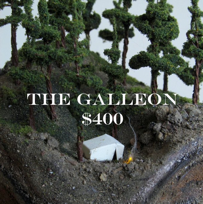 "A custom diorama with your choice of landscape with a 6"" x 8"" bell jar for display. Also included: Digital copy of Frontier, tiny shark in a jar, signed 8""x10"" photo print, and a postcard"