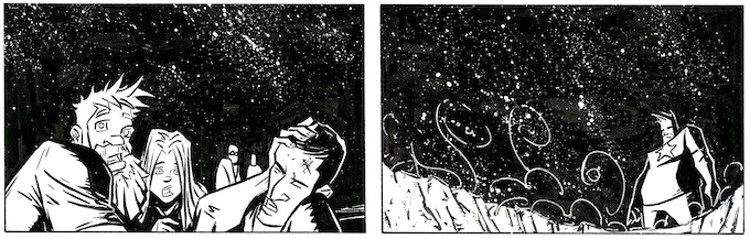 Inked panels from Auroraman: Origins.  Art by Justin Shauf