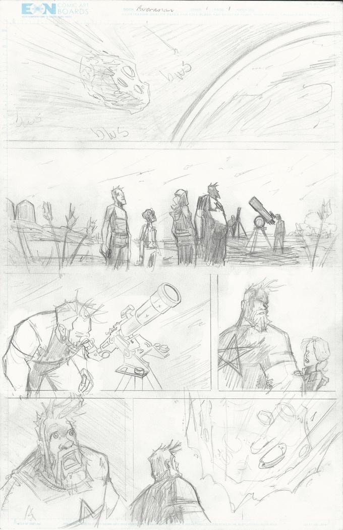 Rough pencils from Auroraman: Origins.  Art by Just Shauf