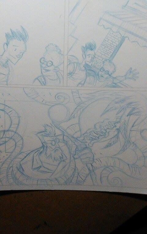 Adventures of Auroraman comic strip pencils.  Art by Cee Raymond