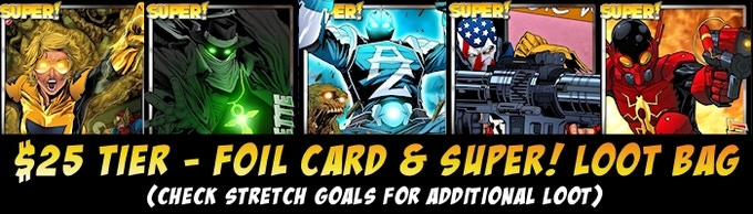 Card is KS exclusive and will NOT be one of the ones pictured.  Click or scroll for potential loot bag items.