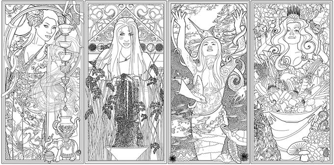 Color Your Own Tarot Deck & Art Nouveau Coloring Book by Lazarus ...