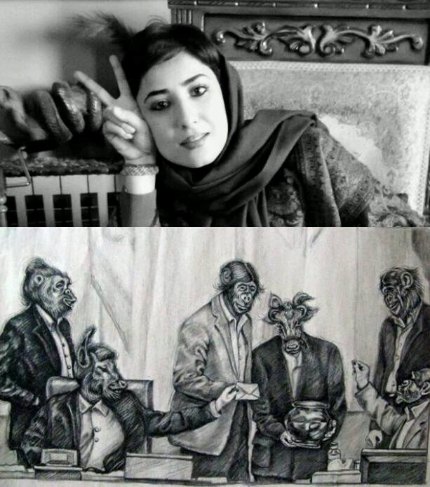 Atena Farghadani (t) and the cartoon for which she was imprisoned (b).
