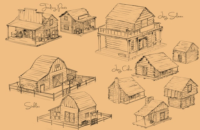 early sketch for a few in-game buildings