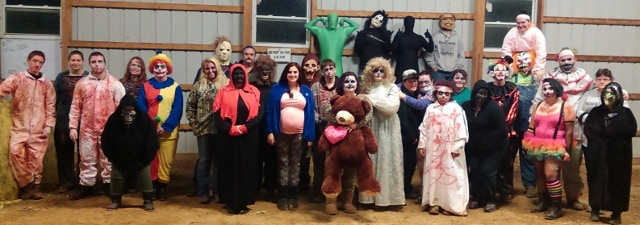 Some of the Cast and Crew from one Night in the 2015 Haunt